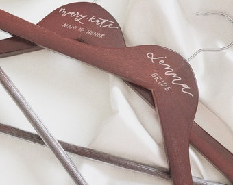 Personalized Dress Hangers | Hand-lettered Wedding Hangers | Bridal Hangers | Bride, Bridesmaid, Maid of Honor Hangers | Customizable Hanger