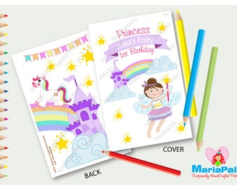 Fairy Magical Coloring Books, 6 Handmade Coloring Books, Fairy Tale Birthday, Personalized Coloring Books, Party Favors, A500