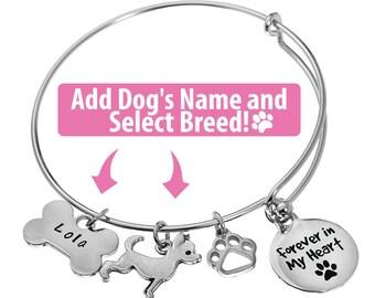 Personalized Dog Memorial Bracelet, Dog Memorial Gift, Personalized Pet Memorial Gift, In Loving Memory Dog Bracelet, Loss of Dog Gift