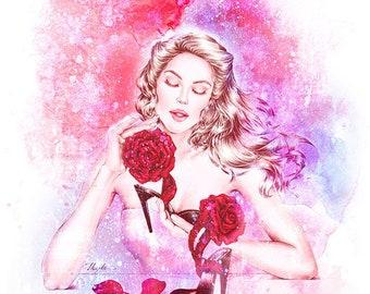 Beauty and the Beast- Fashion Illustration Print, Fashion Sketch, Fashion Illustration, Fashion Print, Fashion Poster, Fashion Wall Art