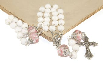 3 Decade Rosary, Our Lady Queen of the Rosary Center, White Shell and Lampwork Glass Beads