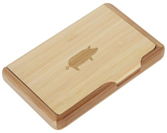 Pig Bamboo Business Card Holder With Laser Engraved Design - Business Card Keeper - Holds Up To 10 Cards