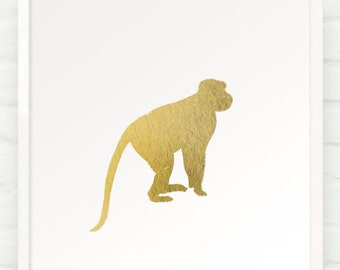 Monkey in Metallic Gold - 8x10 Hand Gilded Baby Zoo Jungle Silhouette Print - Gold Foil Decor for Luxe Kids Room Nursery