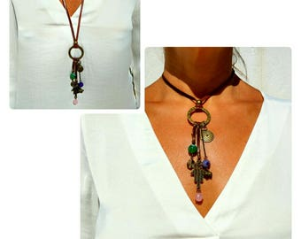 Bohemian Necklace, Boho Necklace, Adjustable Necklace, Leather Necklace, Gem Necklace, natural stone jewelry, Hamsa Hand Necklace, Boho chic