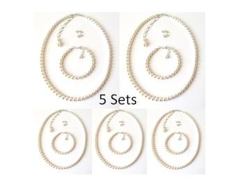 Bridesmaid Jewelry SET OF 5, Bridesmaid Gifts, Pearl Bridesmaid Jewelry 5 Sets, Bridal Party Gifts, Pearl Jewelry Set, Wedding Jewelry