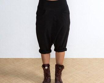 Black Low Crotch Shorts - Drop Crotch Shorts - Black Baggy Shorts - Drop Crotch Shorts Black