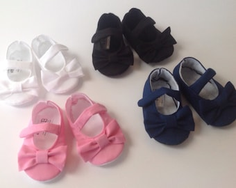 Baby Girl Shoes with Bows | Your Choice in Color | Pink | Black | White | Navy