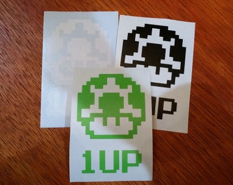 1UP Mushroom Vinyl Decal for Car Windows and Laptops