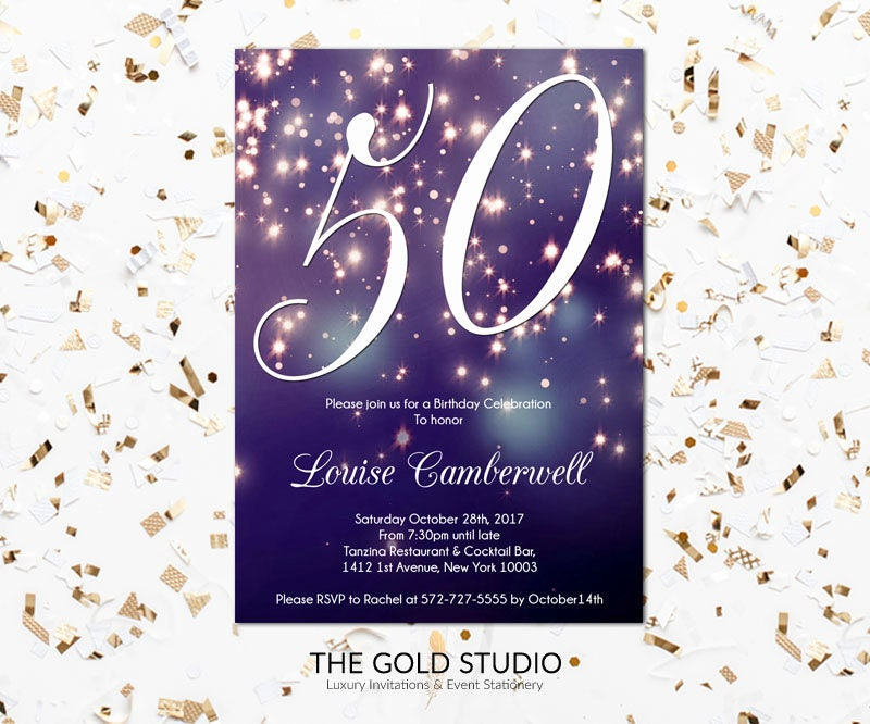 50th birthday invitation blue purple sparkle glamorous modern 50 milestone birthday printed invitations gallery photo gallery photo filmwisefo