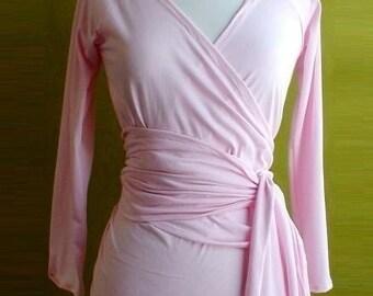 Organic cotton wrap shirt  - pastel pink