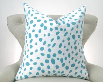 Blue and White Pillow Cover -MANY SIZES- Euro Sham, Big Pillow, Floor Pillow, Aqua Coastal Blue Togo by Premier Prints