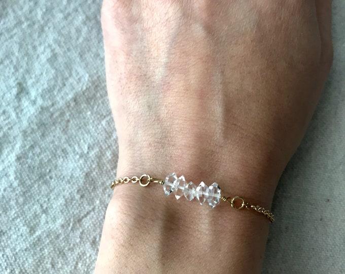 Herkimer Diamond Bar Stack Bracelet - Quartz Dainty Bracelet, Wedding Jewelry, Minimal, Crystal Bracelet, Bride Bridesmaid Jewelry