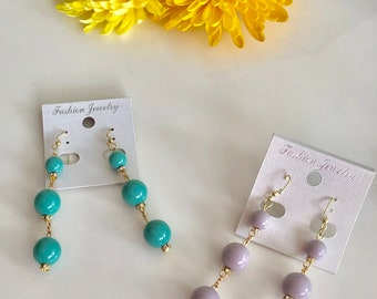 Nudy color beads drop earrings