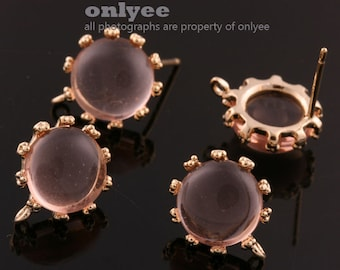 1pair/2pcs-10mm Gold plated Brass,Faceted Round Glass Earring, post earrings-Peach(M340G-F)