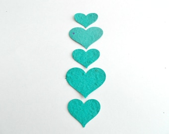 100 Teal Seeded Paper Hearts - Eco Friendly Plantable Seed Paper Confetti Embedded With Flower Seeds - Paper Heart Confetti Cut Outs