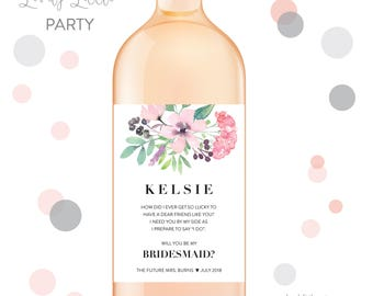 Pink Floral Will you be my bridesmaid wine labels, bridesmaid wine labels, watercolor labels, bridesmaid gift - style 1004