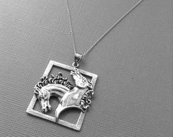 Horse Necklace in Sterling Silver, Horse Jewelry