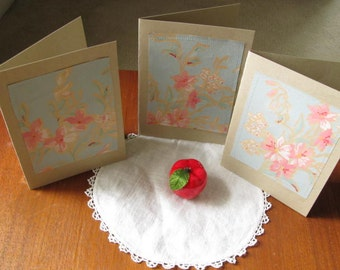 Blank Note Cards for Boho Wedding Stationery, Small Gift, OOAK Writing Cards, Low Cost Wedding Invitations, Upcycled cards, NCA734