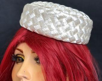 1950s Formal Straw Pillbox Hat