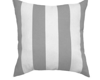 Grey White Outdoor Pillow Cover, Gray Throw Pillow, Grey and White Striped Pillow Cover, Grey Patio Pillow, Zippered Outdoor Pillow Cover