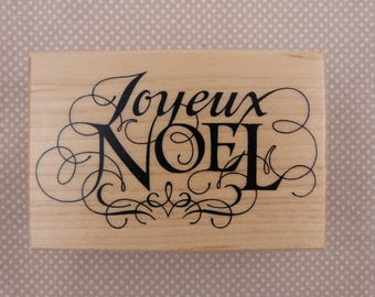 Wooden rubber stamp: Merry Christmas