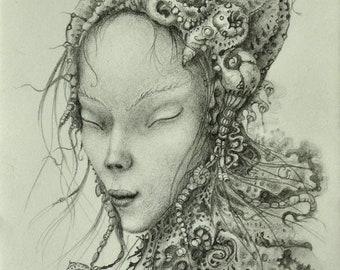 Annapurna. Drawing, pencil. 22cm. X 15cm.