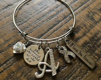 Cancer Bangle Bracelet, Charm Bracelet, Initial Jewelry, She believed she could so she did, Personalized Cancer Bracelet, Cancer Ribbon