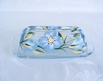 Butter dish, covered butter dish, glass butter dish, butter dish with lid, blue flowers, floral butter dish