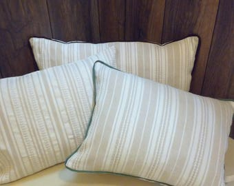 Off-white Designer Pillow Cover with beige stripes, Decorative Pillow Case, Handwoven Cotton Pillow