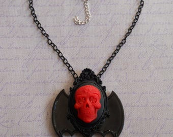 Gothic Lolita sugar skull cameo in red with bat wings necklace and beads