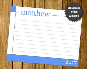 Printable stationery, Blue and grey personal stationery, Stationery with year, Calendar stationery, Printable JPEG 5.5x4.25