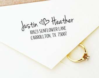 Personal address stamp, custom pre inked stamps with first names and hearts