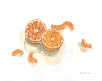 "Original Oranges Watercolor - 8x10"" Oranges Painting - Original Art - Oranges Illustration - Oranges Art - Orange Drawing - Picture"
