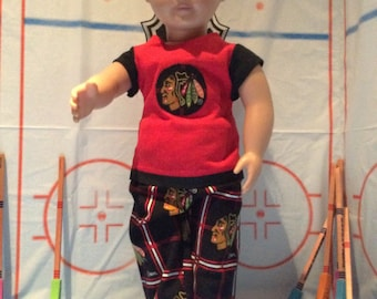 Chicago BLACKHAWKS !18 Inch Doll Clothes ,Handmade , Fits All 18 Inch Dolls  2 PC Outfit