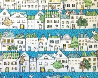 Japanese fabric cotton Sevenberry - houses and channels - 50cm (110 x)