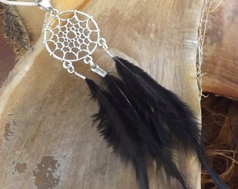 Necklace dream catcher black feather