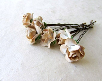 5 Mini Cream Roses Artificial Hair Flower Pins Made in UK IqEL781a