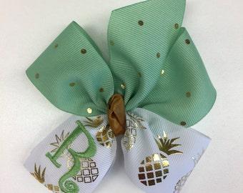 Pineapple Monogram, Initial Hair Bow, Mint Green Gold, Metallic Custom, Letter monogrammed, Medium Size Girls, Hairbows, Summer Tropical