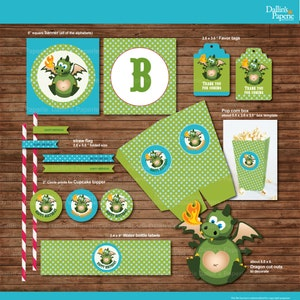 Dragon Birthday Party printables, Party decoration DIY Printables -instant download