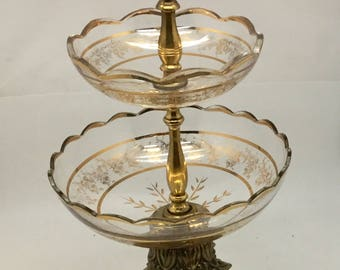 Two Tier Gold Glass Bowl Epergne Centerpiece - Assembly Required