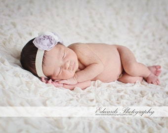 Lilac and Ivory Baby Flower Headband, Newborn Headband, Baby Girl Flower Headband, Flower Headband, Photography Prop