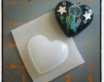 Bubble Heart Flexible Plastic Resin Mold