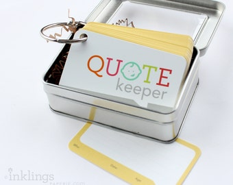 Quote Keeper Ring with Cards // Sunshine Yellow // Quote journal, baby sprinkle gift, baby shower, baby book, baby album, new mom gift ideas