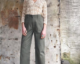 1970s Cropped Olive Military Trousers Pants 28
