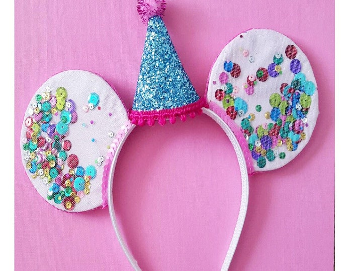 UnBirthday Birthday Mickey Ears || Mouse Ears || Mouse Ears Headband || Minnie Mouse Ears || Sparkle Mouse Ears || Confetti Mouse Ears