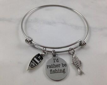 I'd Rather Be Fishing Charm Bracelet, I'd Rather Be Fishing Bangle, Fishing Bracelet, Boat Charm, Fish Charm