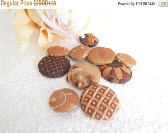 CLEARANCE - 10 brown mix fabric covered buttons, mixed sizes