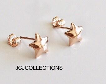 Tiny  Rose Gold Star Stud Earrings