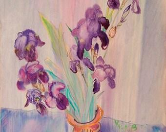Irises in a yellow vase
