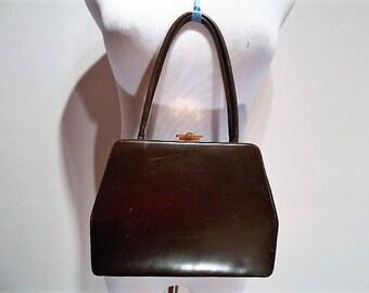 Lennox Brown Calfskin Leather Polygon Box Purse Handbag, c. 1950